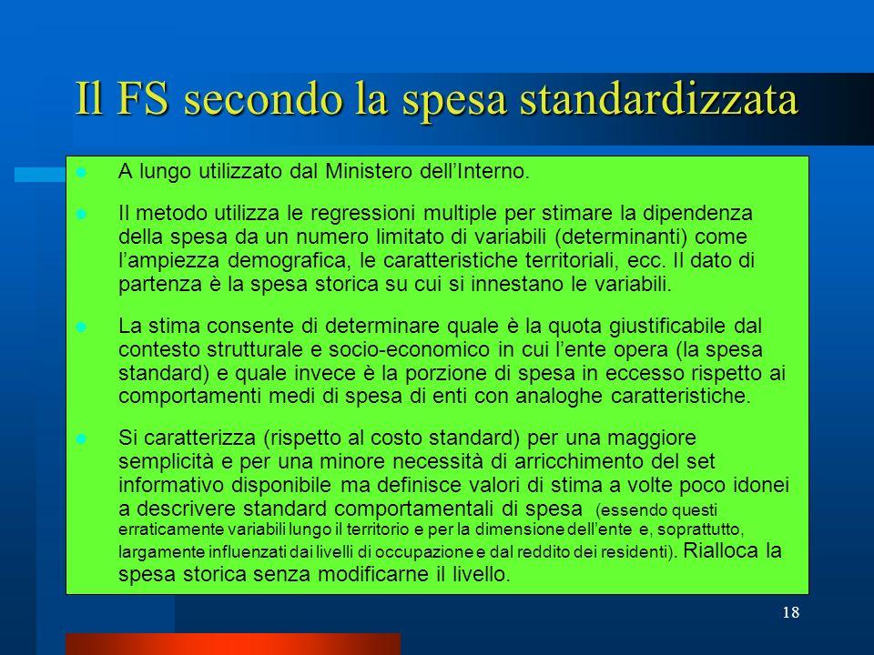 Il FS secondo la spesa standardizzata