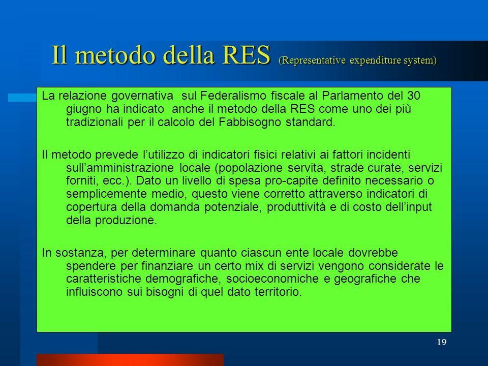Il metodo della RES (Representative expenditure system)