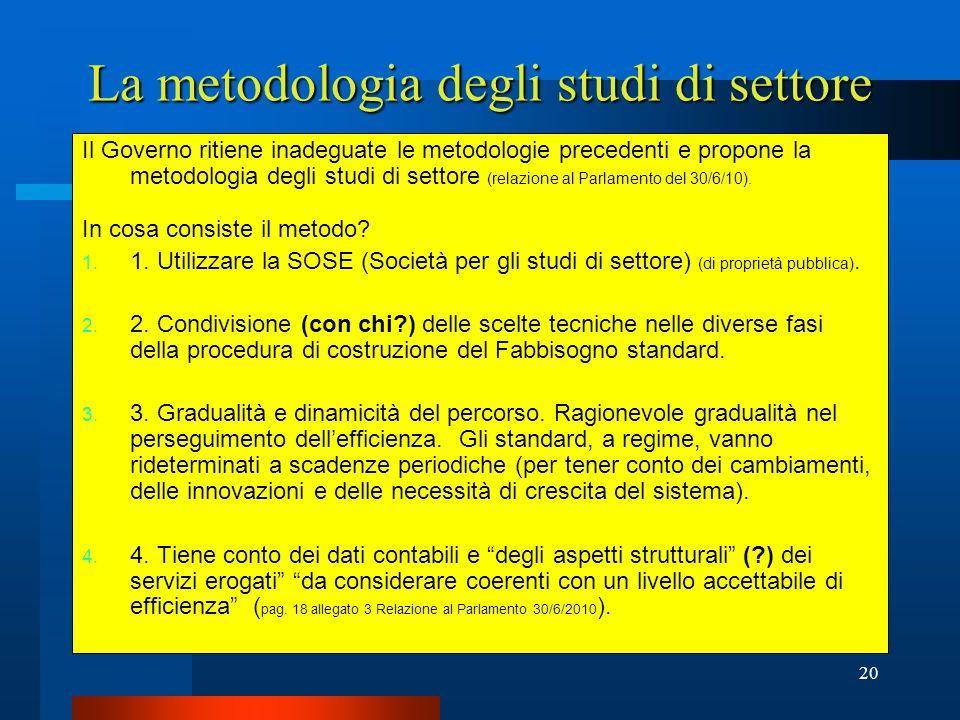 La metodologia degli studi di settore