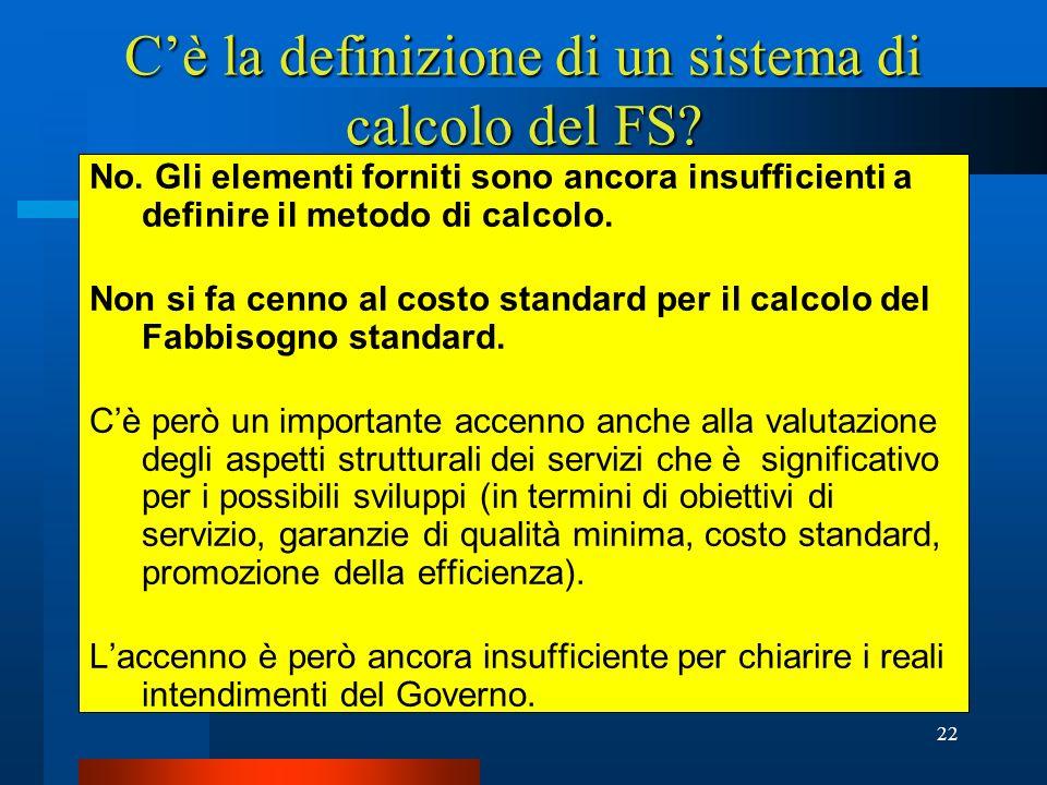 C'è la definizione di un sistema di calcolo del FS