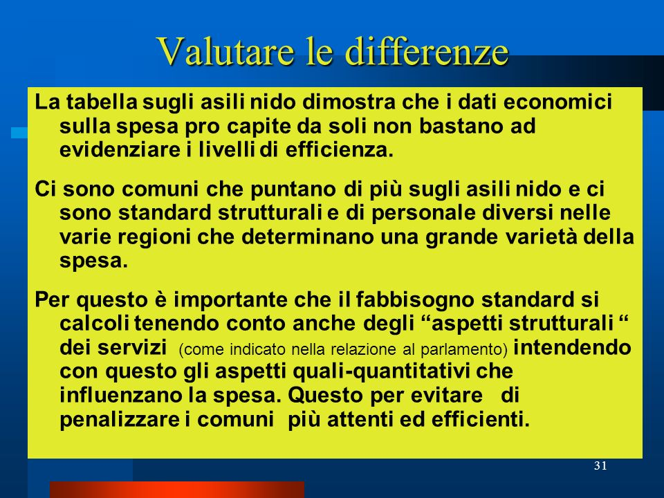 Valutare le differenze