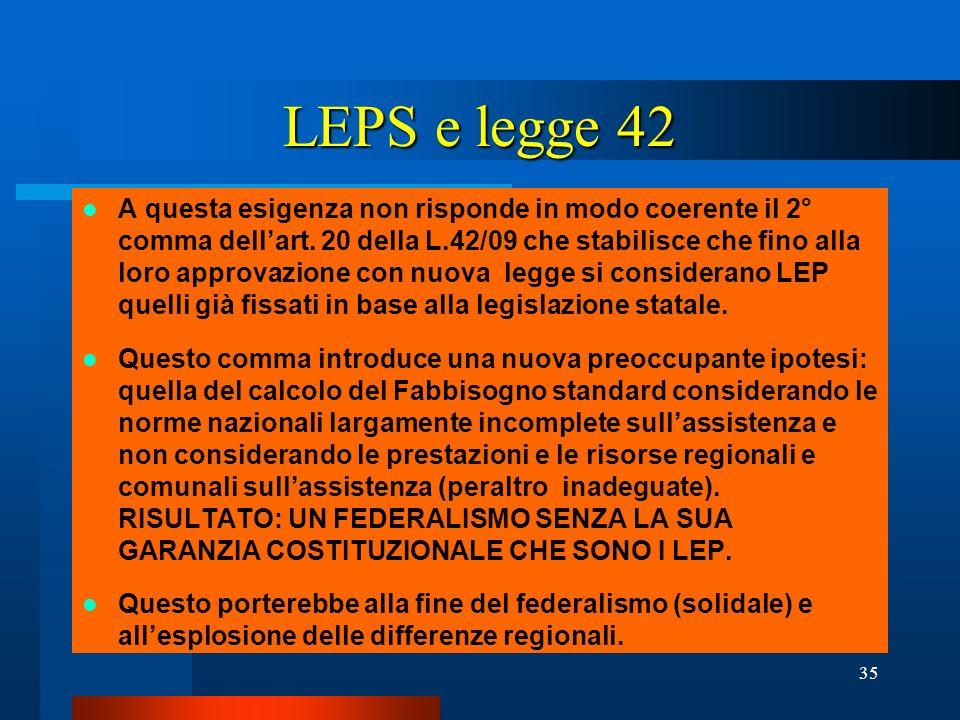 LEPS e legge 42