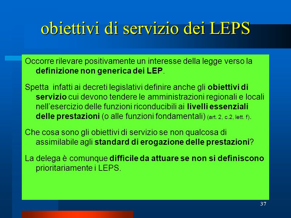 obiettivi di servizio dei LEPS