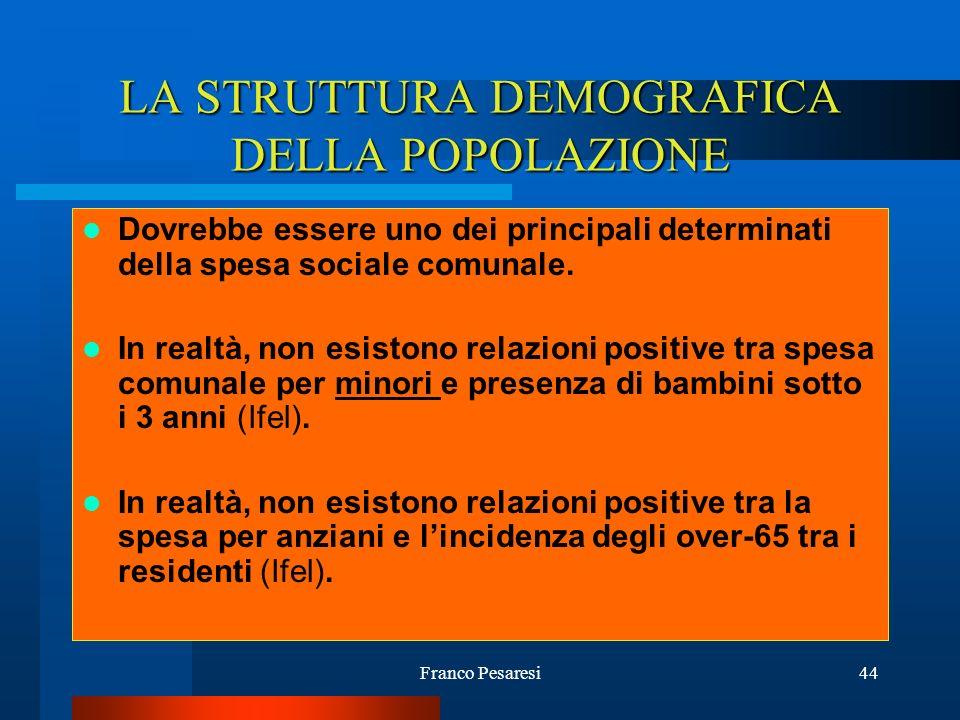 LA STRUTTURA DEMOGRAFICA DELLA POPOLAZIONE