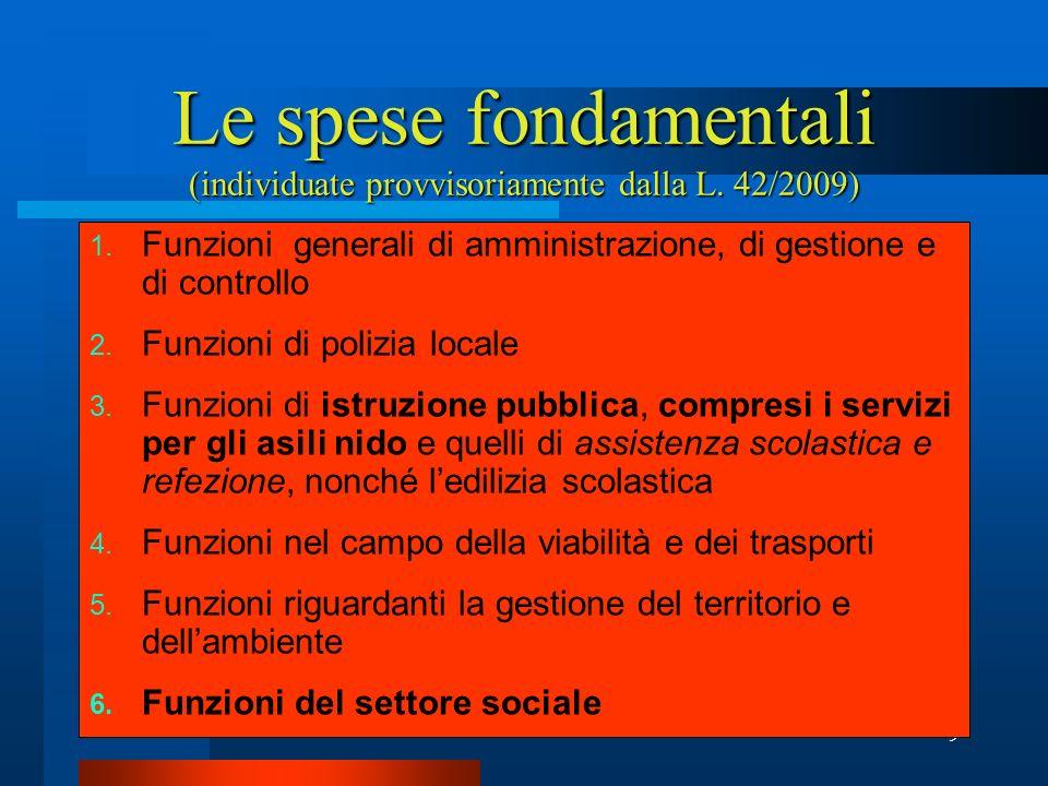 Le spese fondamentali (individuate provvisoriamente dalla L. 42/2009)