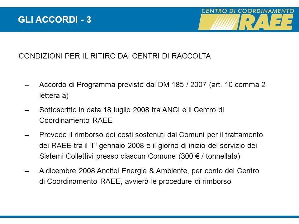 GLI ACCORDI - 3 CONDIZIONI PER IL RITIRO DAI CENTRI DI RACCOLTA