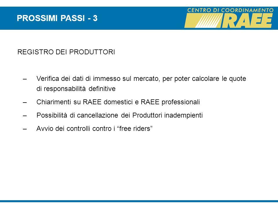 PROSSIMI PASSI - 3 REGISTRO DEI PRODUTTORI