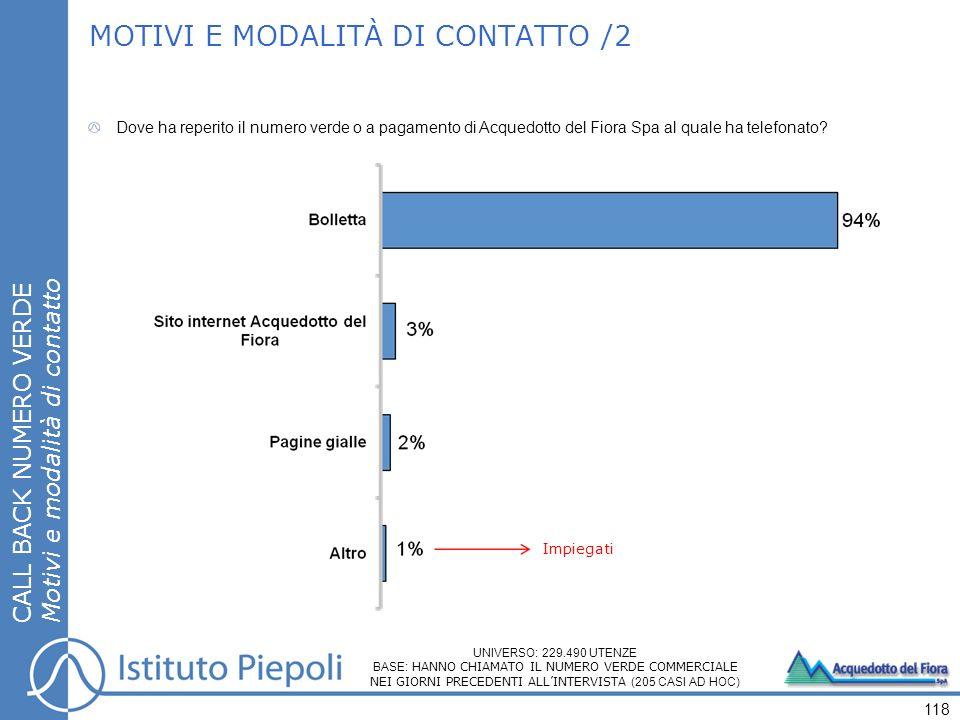 MOTIVI E MODALITÀ DI CONTATTO /2