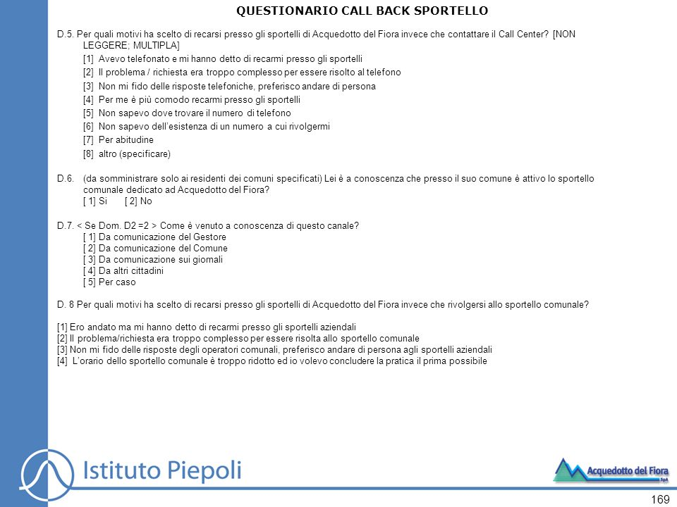 QUESTIONARIO CALL BACK SPORTELLO