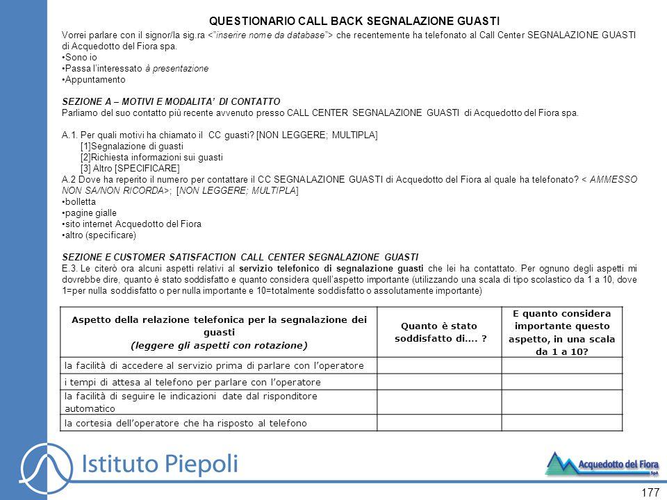 QUESTIONARIO CALL BACK SEGNALAZIONE GUASTI