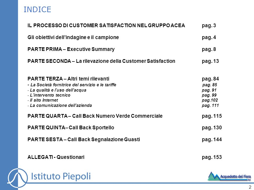 INDICE IL PROCESSO DI CUSTOMER SATISFACTION NEL GRUPPO ACEA pag. 3