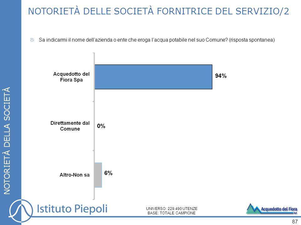NOTORIETÀ DELLE SOCIETÀ FORNITRICE DEL SERVIZIO/2