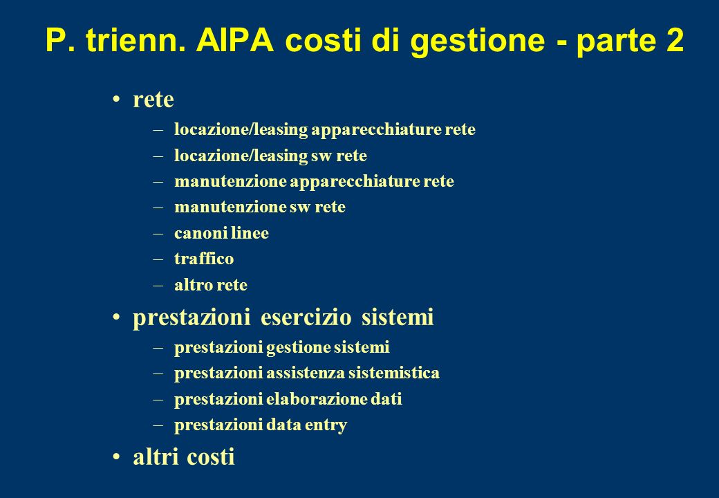 P. trienn. AIPA costi di gestione - parte 2