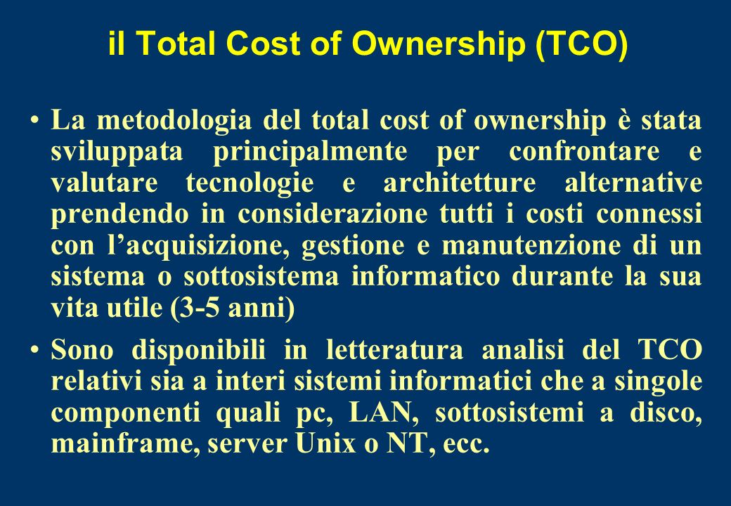 il Total Cost of Ownership (TCO)