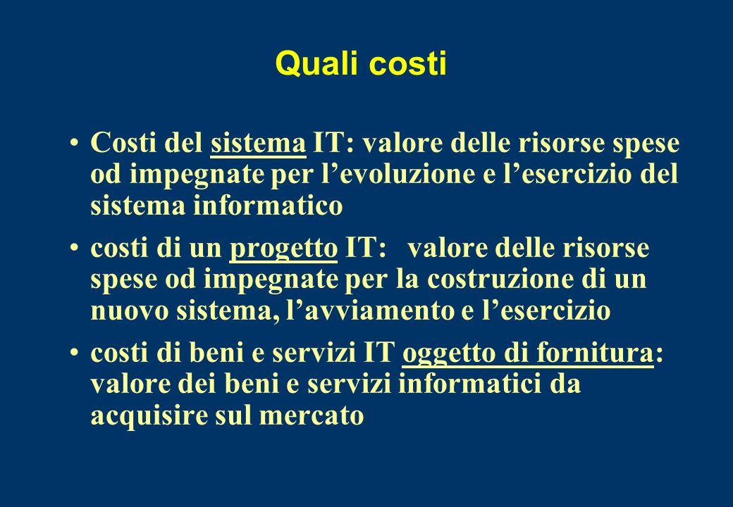 Quali costiCosti del sistema IT: valore delle risorse spese od impegnate per l'evoluzione e l'esercizio del sistema informatico.