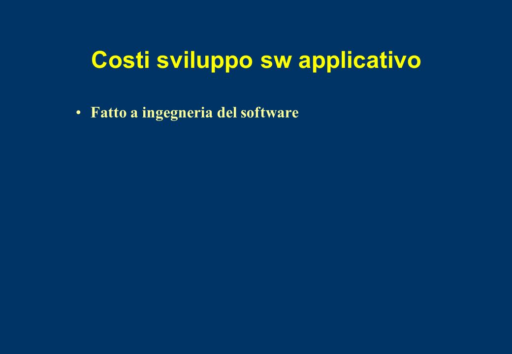 Costi sviluppo sw applicativo