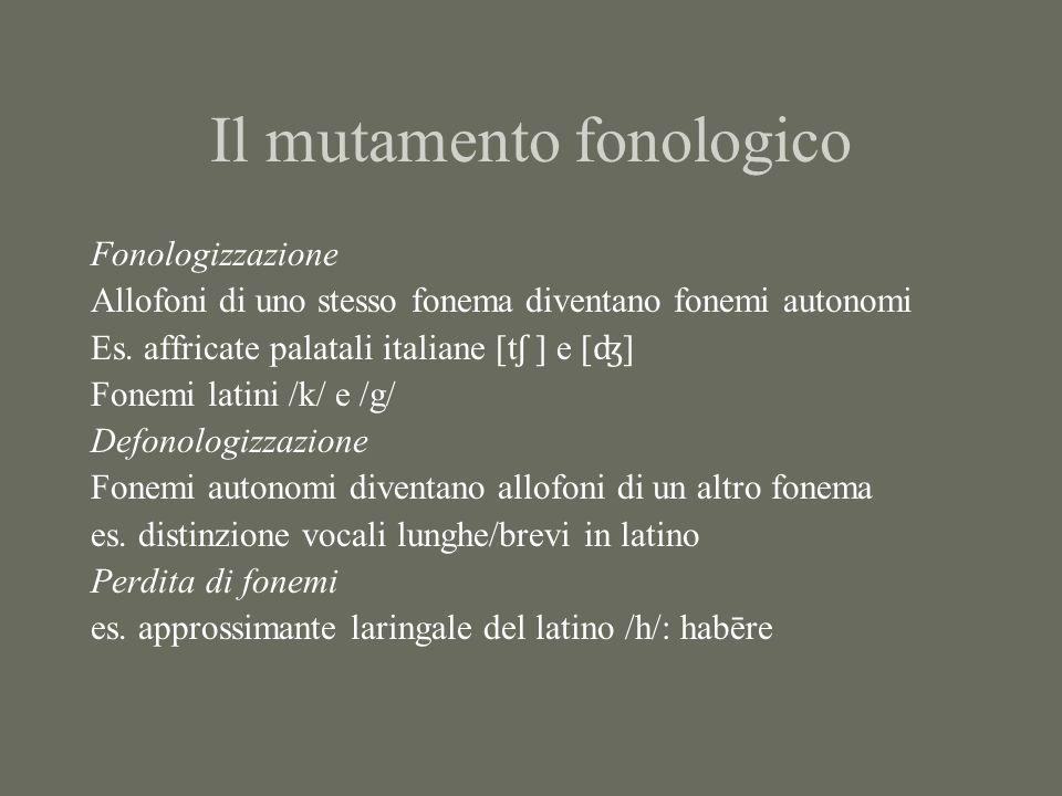 Il mutamento fonologico