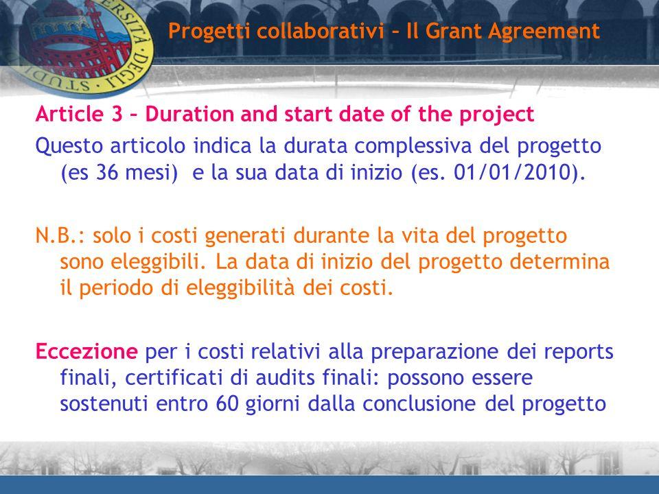 Progetti collaborativi – Il Grant Agreement
