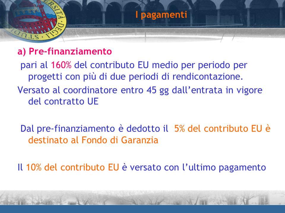I pagamenti a) Pre-finanziamento. pari al 160% del contributo EU medio per periodo per progetti con più di due periodi di rendicontazione.
