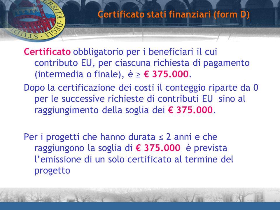 Certificato stati finanziari (form D)