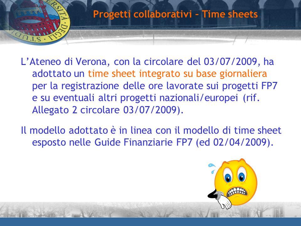 Progetti collaborativi – Time sheets