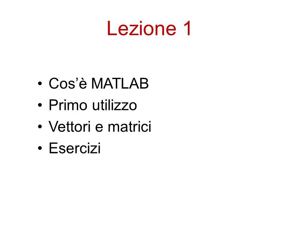 Lezione 1 Cos'è MATLAB Primo utilizzo Vettori e matrici Esercizi