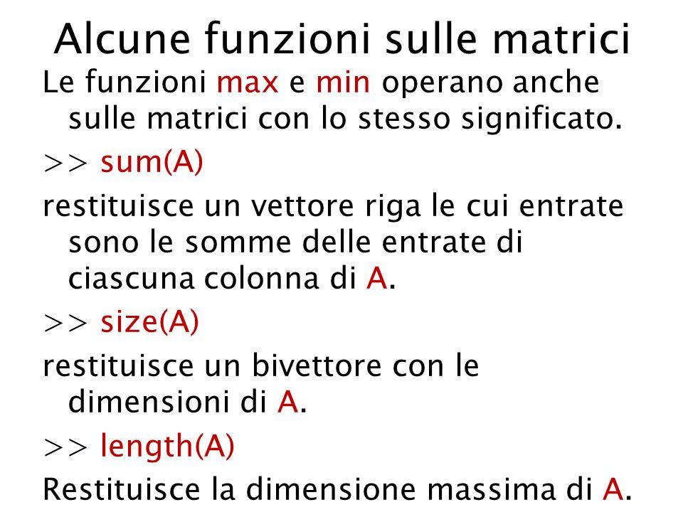 Alcune funzioni sulle matrici