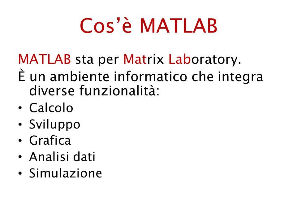 Cos'è MATLAB MATLAB sta per Matrix Laboratory.