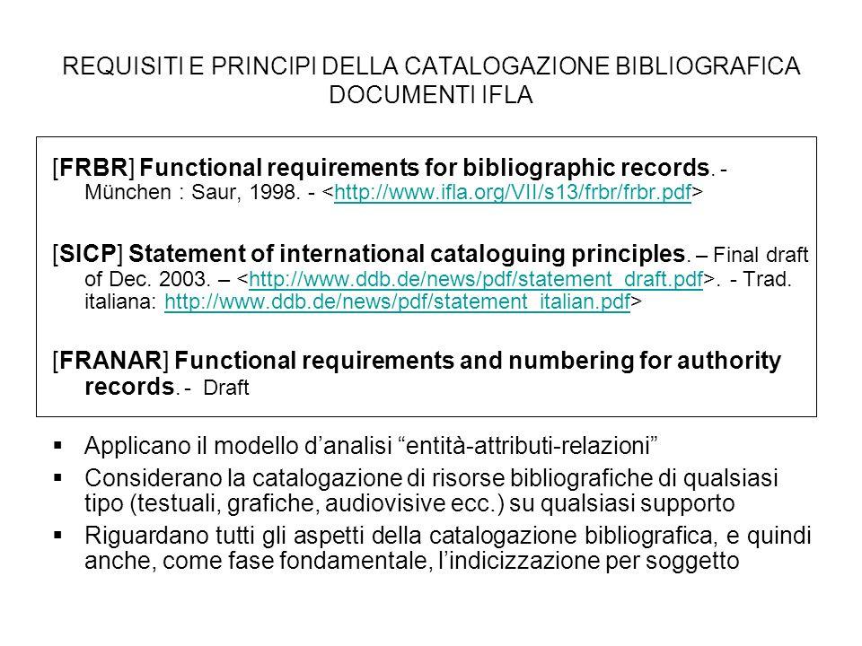 REQUISITI E PRINCIPI DELLA CATALOGAZIONE BIBLIOGRAFICA DOCUMENTI IFLA