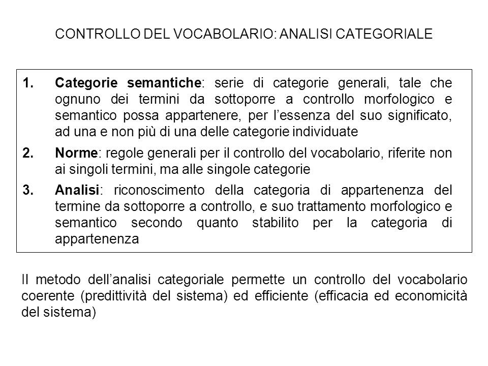 CONTROLLO DEL VOCABOLARIO: ANALISI CATEGORIALE