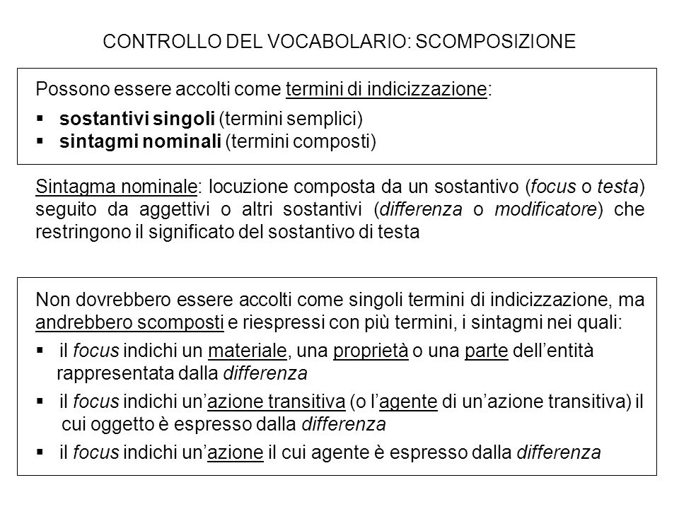 CONTROLLO DEL VOCABOLARIO: SCOMPOSIZIONE