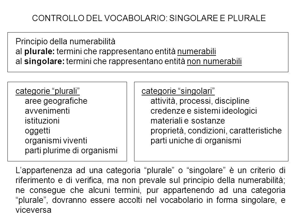 CONTROLLO DEL VOCABOLARIO: SINGOLARE E PLURALE