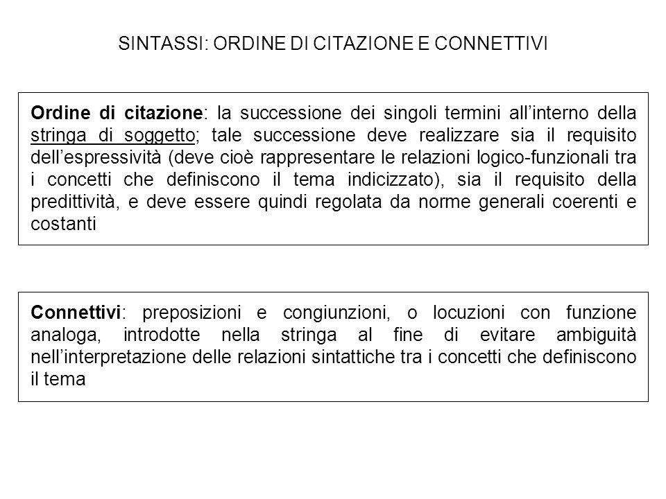 SINTASSI: ORDINE DI CITAZIONE E CONNETTIVI
