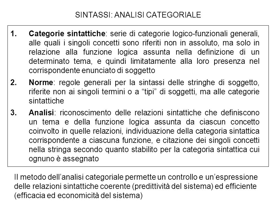 SINTASSI: ANALISI CATEGORIALE