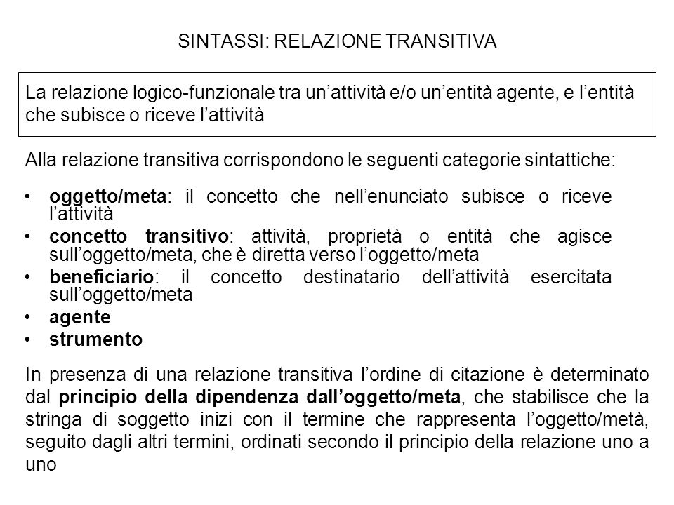SINTASSI: RELAZIONE TRANSITIVA