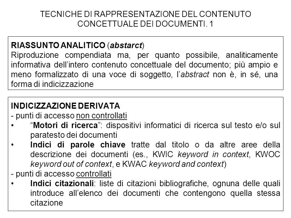 TECNICHE DI RAPPRESENTAZIONE DEL CONTENUTO CONCETTUALE DEI DOCUMENTI. 1