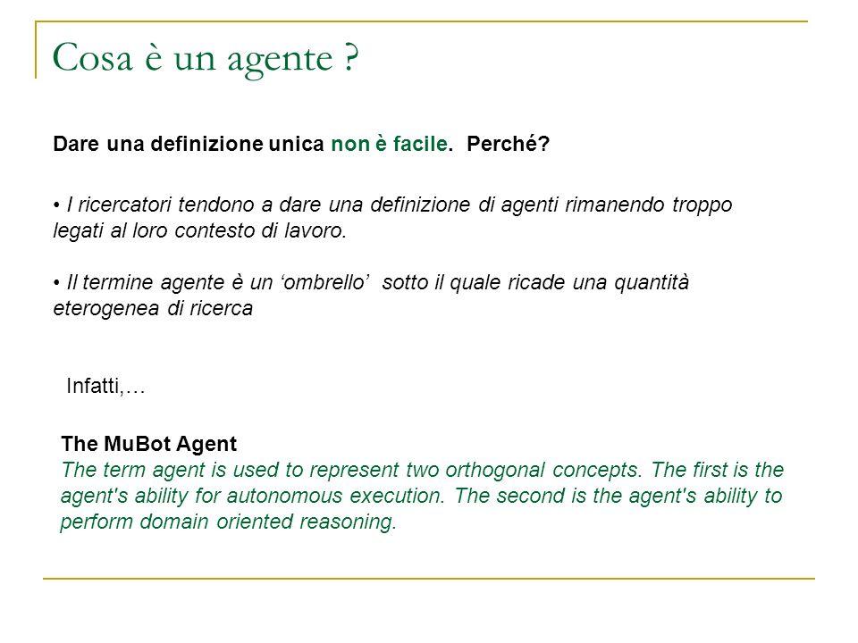Cosa è un agente Dare una definizione unica non è facile. Perché