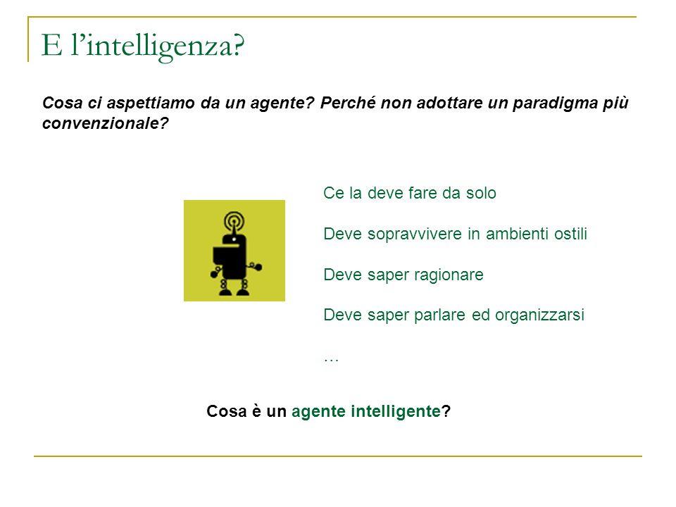 E l'intelligenza Cosa ci aspettiamo da un agente Perché non adottare un paradigma più convenzionale