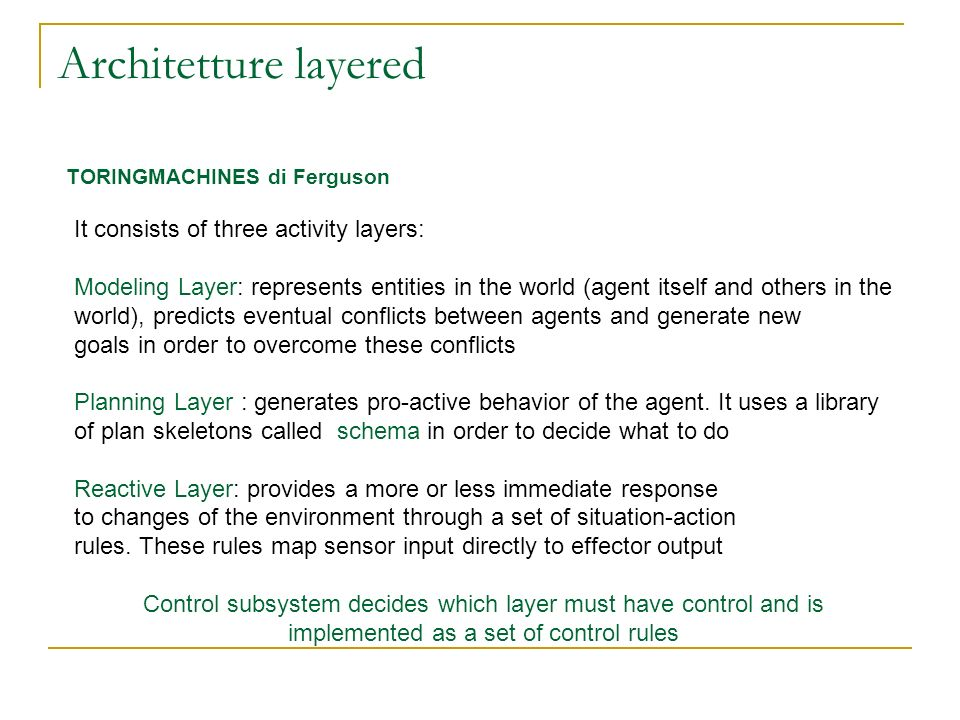 Architetture layered It consists of three activity layers: