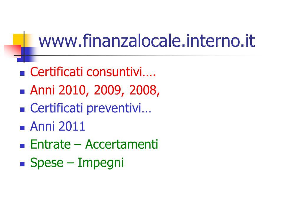 www.finanzalocale.interno.it Certificati consuntivi….