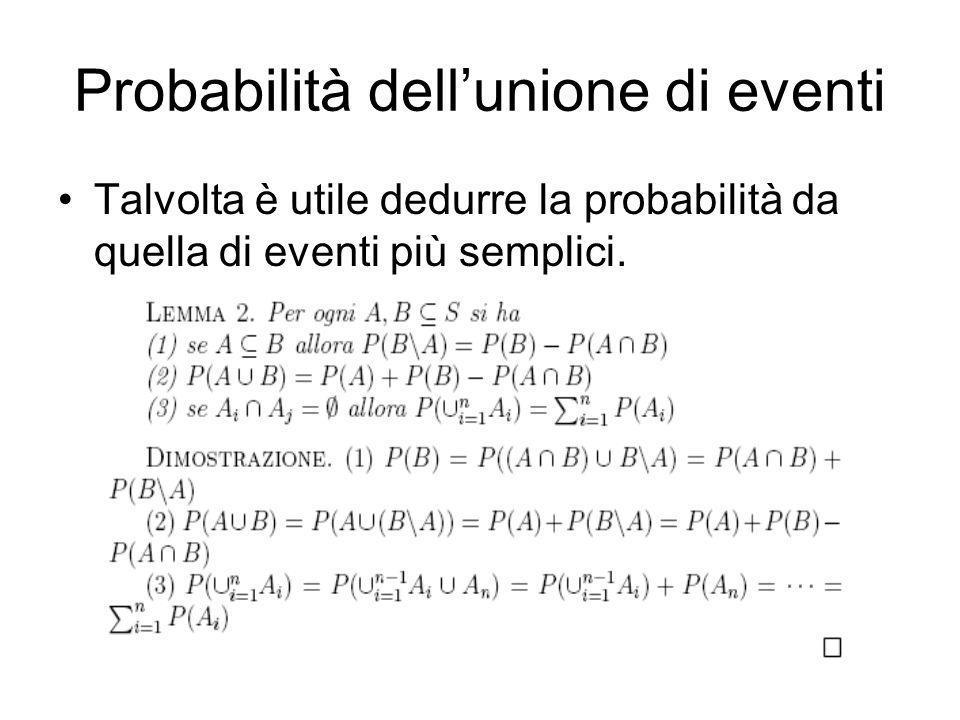 Probabilità dell'unione di eventi