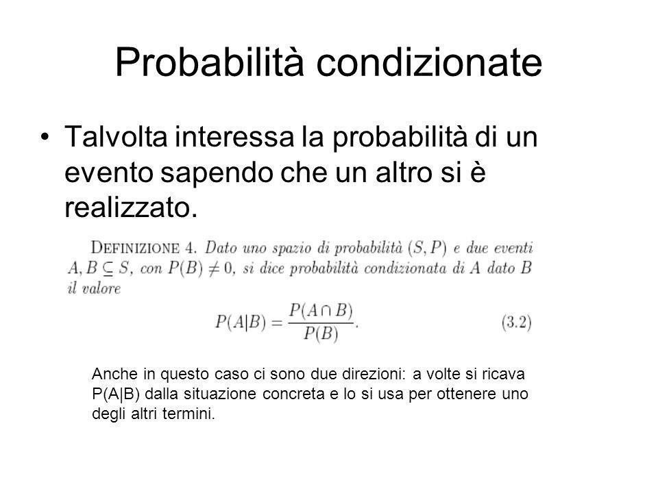 Probabilità condizionate