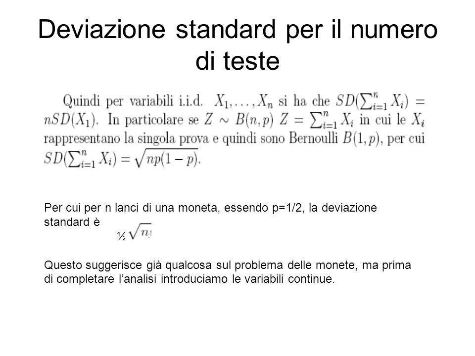 Deviazione standard per il numero di teste