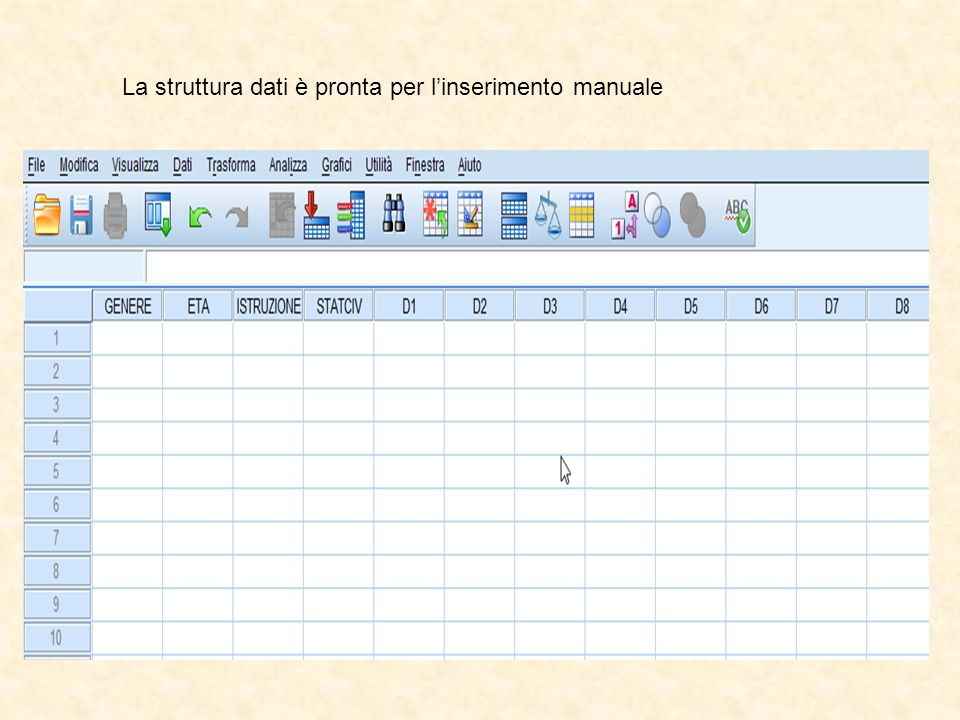 La struttura dati è pronta per l'inserimento manuale