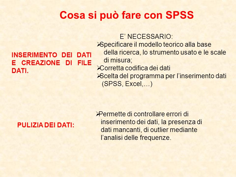 Cosa si può fare con SPSS