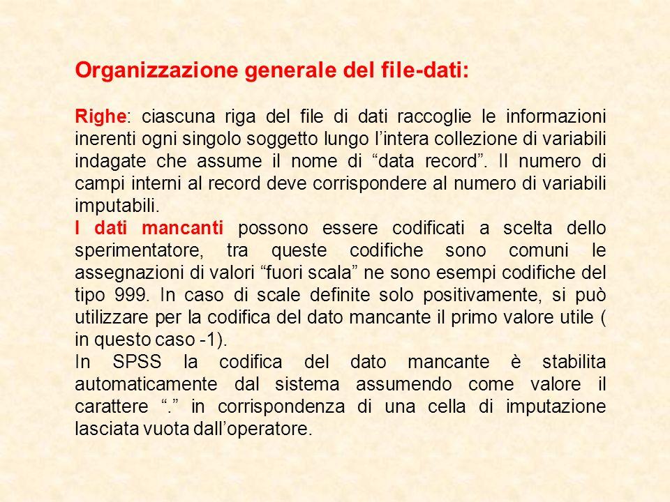 Organizzazione generale del file-dati: