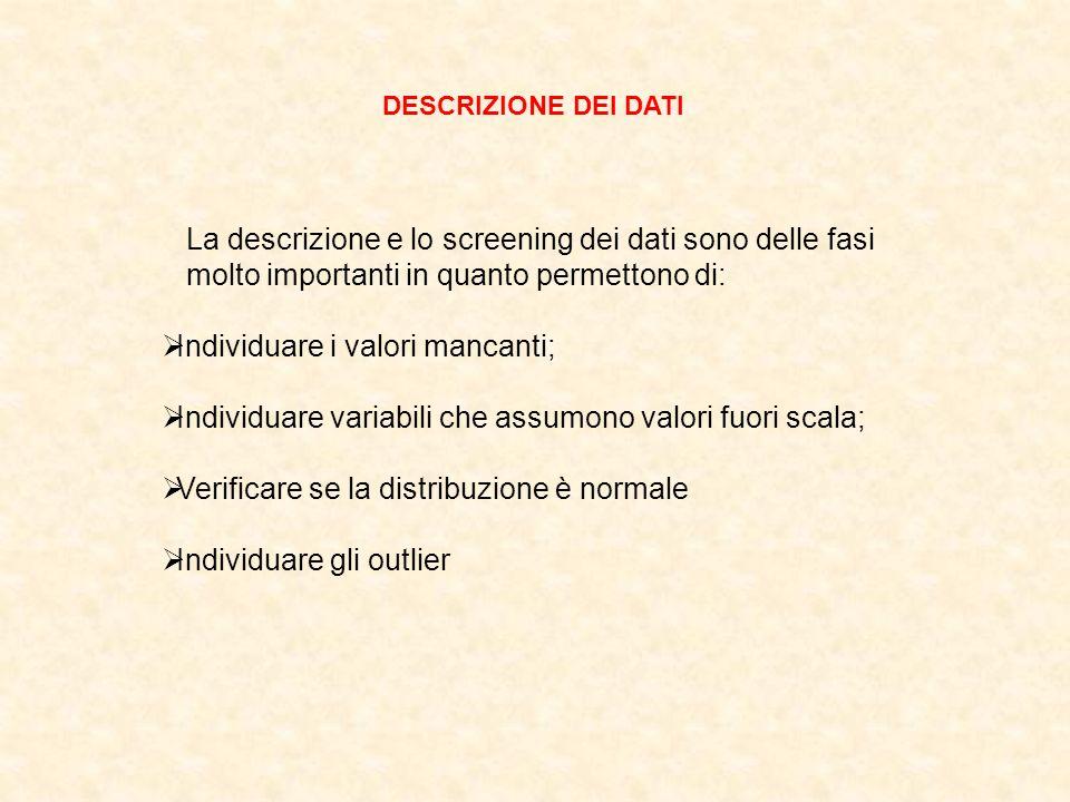 La descrizione e lo screening dei dati sono delle fasi