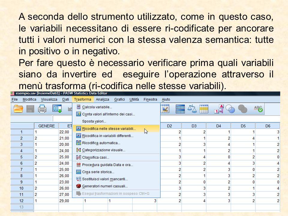 A seconda dello strumento utilizzato, come in questo caso, le variabili necessitano di essere ri-codificate per ancorare tutti i valori numerici con la stessa valenza semantica: tutte in positivo o in negativo.
