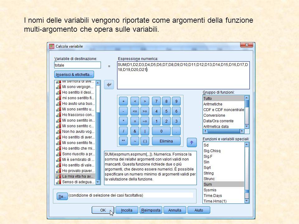 I nomi delle variabili vengono riportate come argomenti della funzione multi-argomento che opera sulle variabili.
