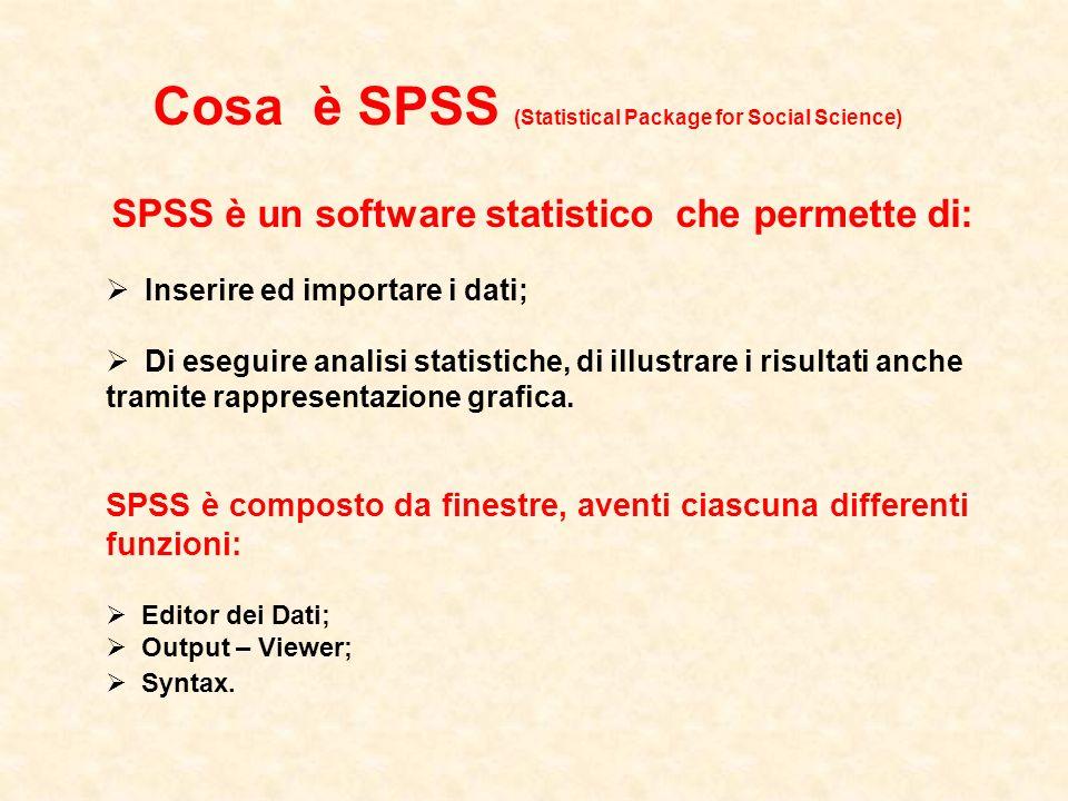 SPSS è un software statistico che permette di:
